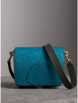 Burberry The Square Satchel in Alligator - DARK TEAL - STYLE