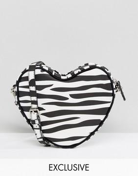 Lazy Oaf Exclusive Zebra Print Heart Cross Body Bag