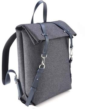 Royce Leather Royce Black Leather Flannel Mixed Media Backpack