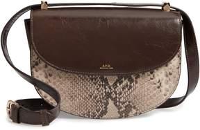 A.P.C. Sac Geneve Snake Embossed Leather Shoulder Bag