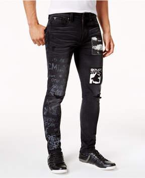 GUESS Men's Slim-Fit Black Graffiti Stretch Jeans
