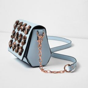 River Island Womens Light blue 3D flower cross body chain bag