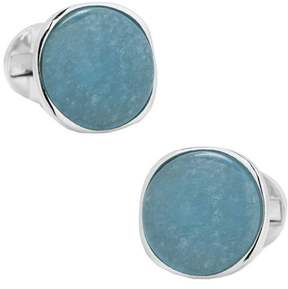 Ox & Bull Trading Co. Men's Sterling Classic Formal Aquamarine Cufflinks