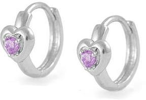 Ice Kids' Silver Heart Huggie Hoop Earrings For Girls