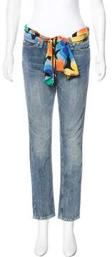 Love Moschino Scarf-Accented Mid-Rise Jeans