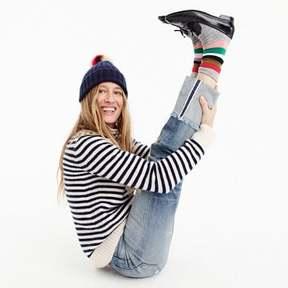 J.Crew Ribbed beanie with striped faux-fur pom-pom