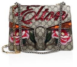 Gucci Elton Embroidered GG Chain Shoulder Bag