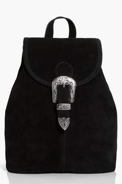 boohoo Poppy Boutique Suede Buckle Detail Backpack