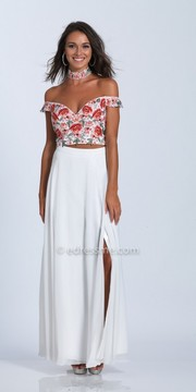 Dave and Johnny Off the Shoulder Embroidered Two Piece Prom Dress with Choker