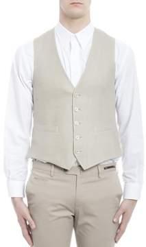 Lardini Men's Beige Linen Vest.
