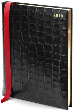 Aspinal of London Quarto A4 Day Per Page Leather Diary In Deep Shine Black Croc