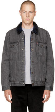 Levi's Levis Black Denim Type 3 Sherpa Trucker Jacket
