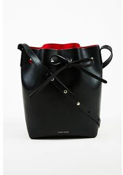Mansur Gavriel Pre-owned Black flamma Red Vegetable Tanned Leather Mini Bucket Bag.