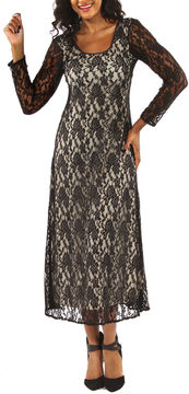 24/7 Comfort Apparel Lace Criss Cross Maxi Dress