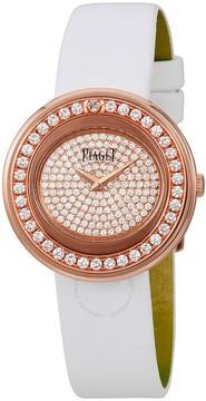 Piaget Possession Diamond Pave 18kt Rose Gold White Satin Men's Watch