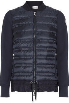 Moncler Maglia Quilted Shell And French Cotton-terry Down Jacket - Blue