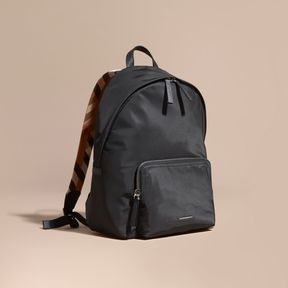 Burberry Leather Trim Nylon Backpack with Check Detail