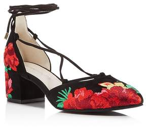 Kenneth Cole Tessa Embroidered Lace Up Block Heel Pumps - 100% Exclusive