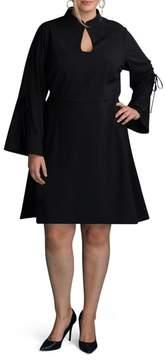 ECI Plus Size Women's Bell Sleeve A-Line Dress
