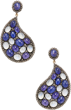 Artisan Women's Silver, 14K Yellow Gold, Tanzanite, Moonstone & 4.10 Total Ct. Diamond Paisley Earrings