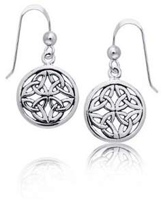 Celtic Bling Jewelry Round Medallion Knot Sterling Silver Dangle Earrings.