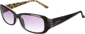 Nine West Womens Rectangle Rhinestone Sunglasses One Size Black