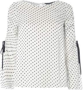 Dorothy Perkins White Spotted Ruched Cold Shoulder Top
