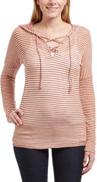 Celeste Rust Stripe Lace-Up Drawstring Hoodie - Women