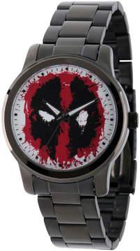 Marvel Mens Deadpool Black-Tone Stainless Steel Bracelet Watch