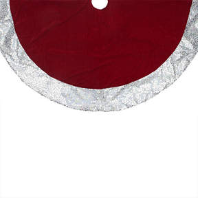 Asstd National Brand 48 Rich Red Velvet Silver Disco Sequin Bordered Christmas Tree Skirt