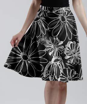 Lily Black & Silver Floral A-Line Skirt - Women & Plus