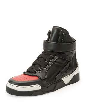 Givenchy Tyson Cap-Toe Leather High-Top Sneaker, Black/Red