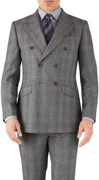 Charles Tyrwhitt Silver Prince Of Wales Slim Fit Flannel Double Breasted Business Suit Wool Jacket Size 38