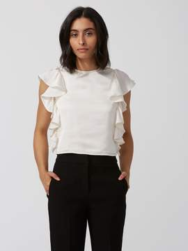 Frank and Oak Satin Ruffle Top in Whisper White
