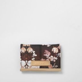 River Island Womens Black floral print travel card holder