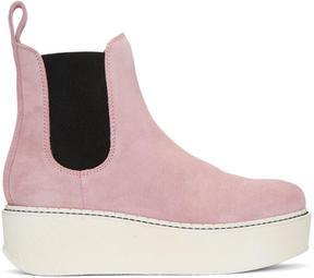 Flamingos SSENSE Exclusive Pink Suede Gibus Platform Boots