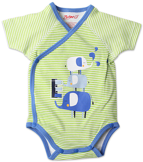 Zutano Lime Stripe Elephant Wrap Bodysuit - Infant