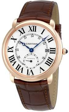 Cartier Ballon Bleu Silver Dial Brown Leather Men's Watch