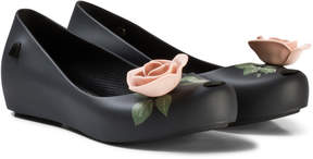 Mini Melissa Black Rose Beauty and the Beast Detail Shoes