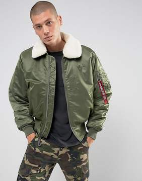 Alpha Industries B15 Faux Shearling Collar Bomber Jacket in Sage Green