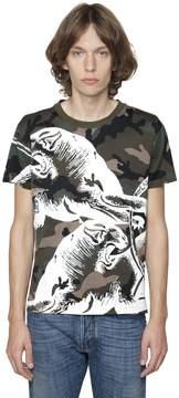 Panther Print Camo Cotton Jersey T-Shirt