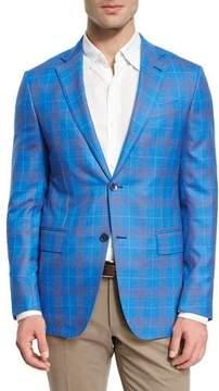 Ermenegildo Zegna Plaid Wool Two-Button Sport Coat, Blue/Rust