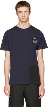 McQ Indigo and Black Colorblock Glyph Logo T-Shirt