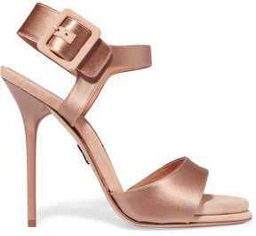 Paul Andrew Kalida Satin And Suede Sandals - Antique rose