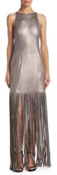 Halston Metallic Fringed Gown