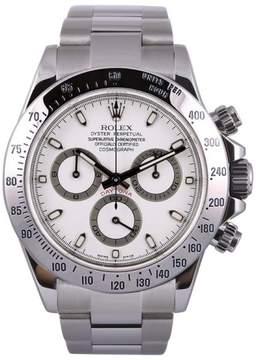 Rolex Daytona 116520 Stainless Steel White Dial 18K White Gold Bezel 40mm Mens Watch