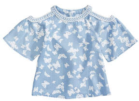 Epic Threads Butterfly-Print Cold-Shoulder Top, Little Girls, Created for Macy's