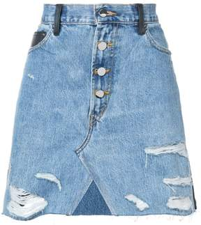 Amiri contrasting frayed denim skirt