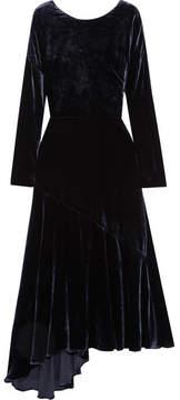 Cédric Charlier Asymmetric Velvet Midi Dress - Black