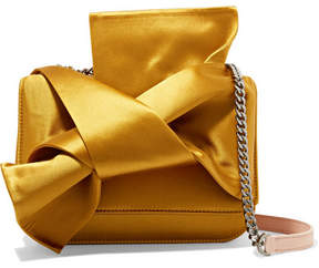 No. 21 - Knot Satin And Leather Shoulder Bag - Yellow